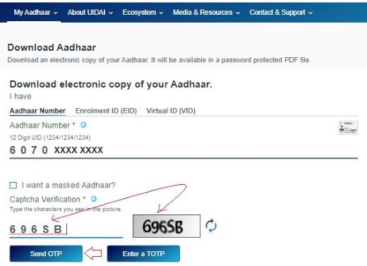 Aadhar Card Download by Mobile Numbe