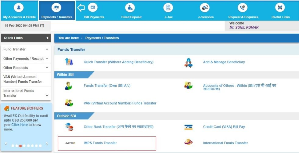 SBI online money transfer