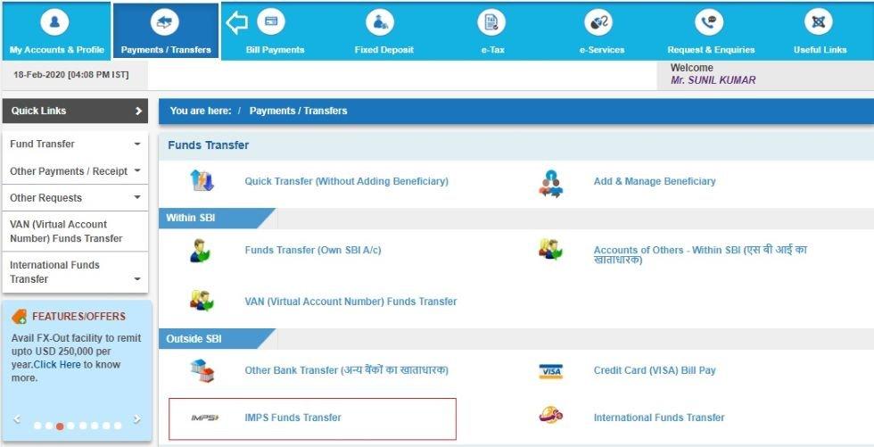 SBI online money transfer