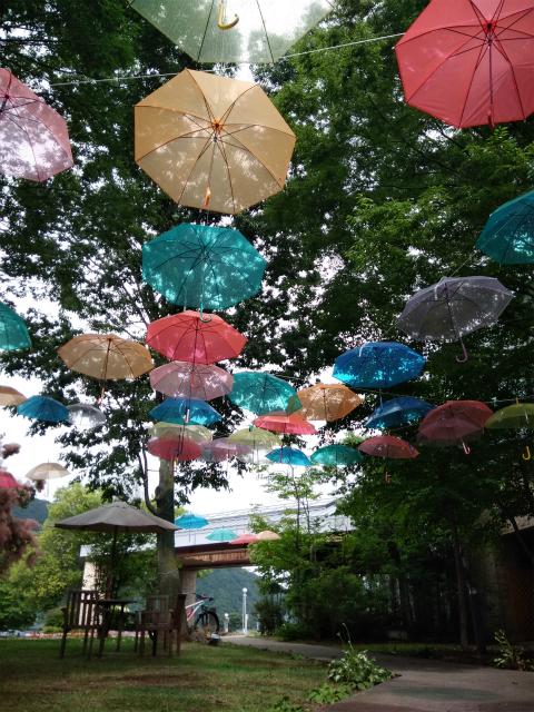 湯っくランド傘のオブジェ