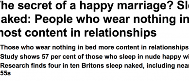 http://www.dailymail.co.uk/news/article-2674385/The-secret-happy-marriage-Sleep-naked-People-wear-bed-content-relationships.html