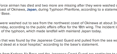 http://abcnews.go.com/International/us-airman-dies-washed-sea-japan-typhoon-missing/story?id=25978264