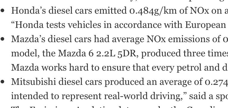 英ガーディアンがベンツ、ホンダ、マツダ、三菱の道路上NOx値が基準値以上と報道。