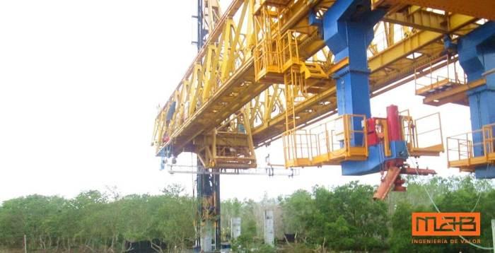 Viga lanzadora, construcción topdown en el Viaducto del Gran Manglar