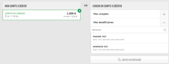 Exemple de virement en ligne source BNP Paribas