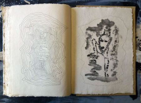 Tuschezeichnung im MABEBU Art Diary Künstlerbuch mit Text