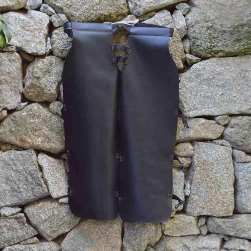 Pantalón protector, pantalon protector para desbrozar, cuero, artesania, hecho a mano,