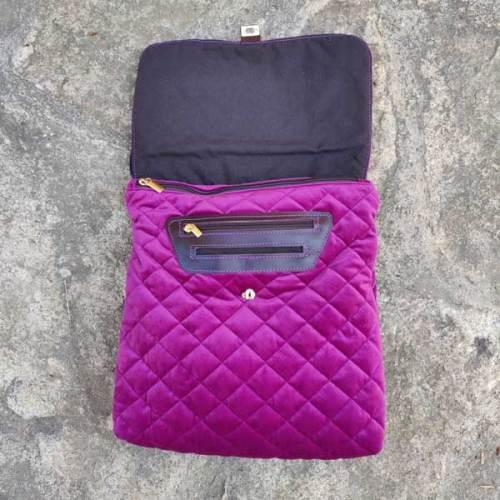bolso de terciopelo, piel, señora, artesania, morado