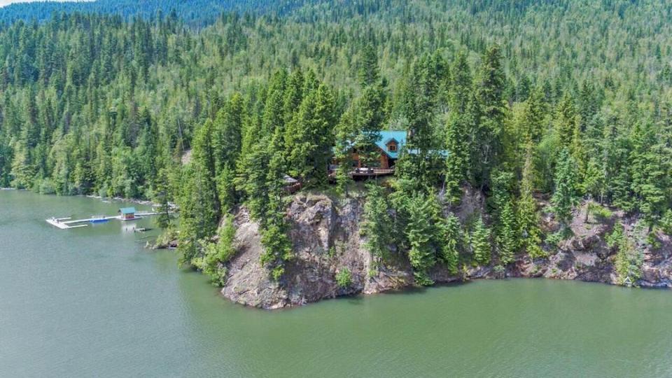 Mabel Lake Waterfront Log Estate Aerial Photo