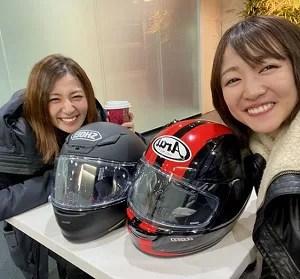 滝菜月 アナウンサー バイク かわいい ヒルナンデス Tシャツ SR400 Ninja400 CBR400 HONDA kawasaki YAMAHA Arai ショーエイ ヘルメット 愛車 車種 ジャケット ブーツ フルフェイス 髪型 ツーリング 仲間