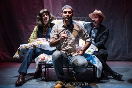 Photo of Jim Jorgensen, Maboud Ebrahimzadeh, and Bradley Foster Smith in The Pillowman.
