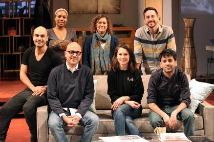 The cast of Disgraced with playwright Ayad Akhtar and director Marcela Lorca