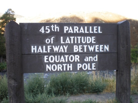 45th Parallel Sign in Yellowstone National Park