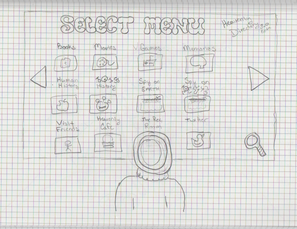 Drawing - Matt stands before a giant monitor covered in icons for every form of entertainment ever.
