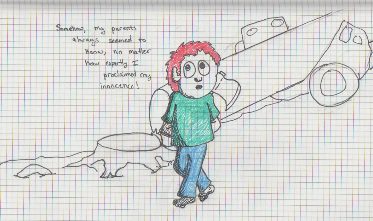 Drawing - A young boy hides an ax behind his back. Behind him, a tree has been cut down and is crushing a car.