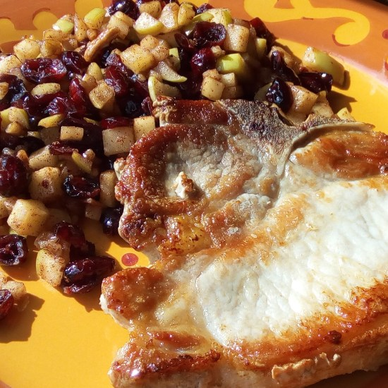 Pork Chops with Cranberry-Apple Salad