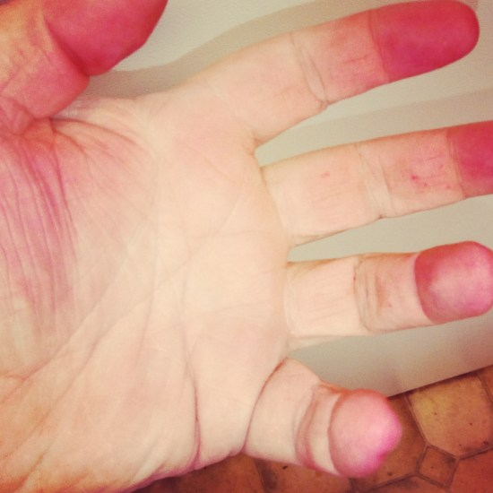 Beet-stained fingers