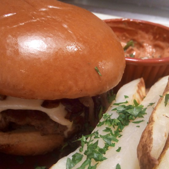 Swiss Fondue Burger with onion jam and parsley fries