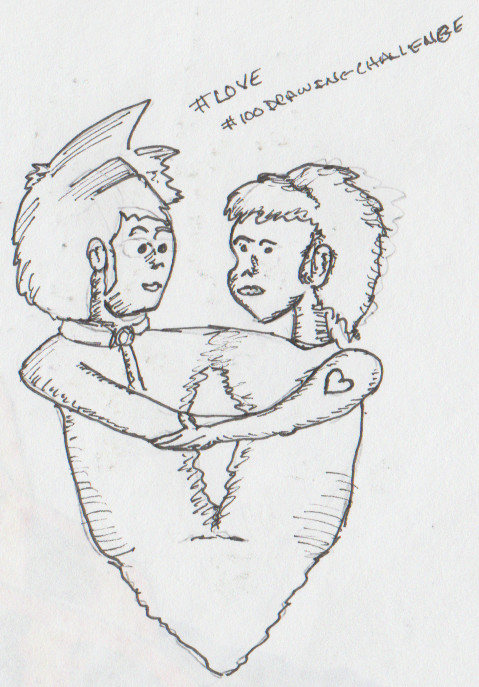 Drawing of two lovers merging together in a roughly heart-shaped pattern.