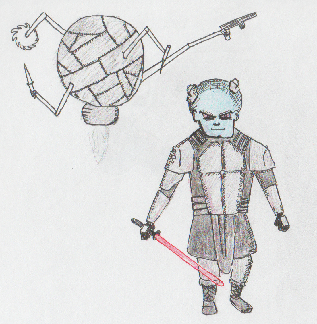 Drawing of Sith lord Darth BigHeadSmalLegs and his Torture Droid...