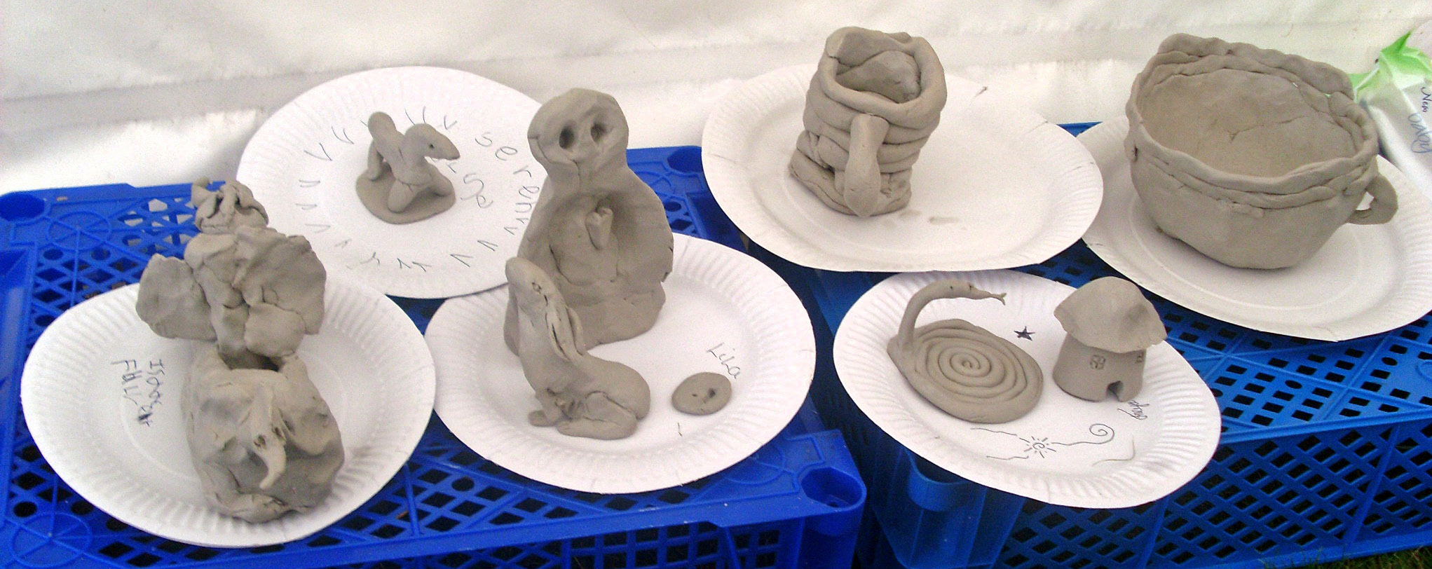 kid's work in pottery