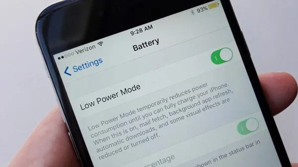 iPhone with Low Power Mode turned on