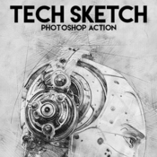 Tech sketch photoshop action by eugene design 16777317 icon