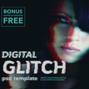 Digital glitch effect psd templates 889095 icon