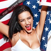 Sexy young woman holding star spangled banner usa icon