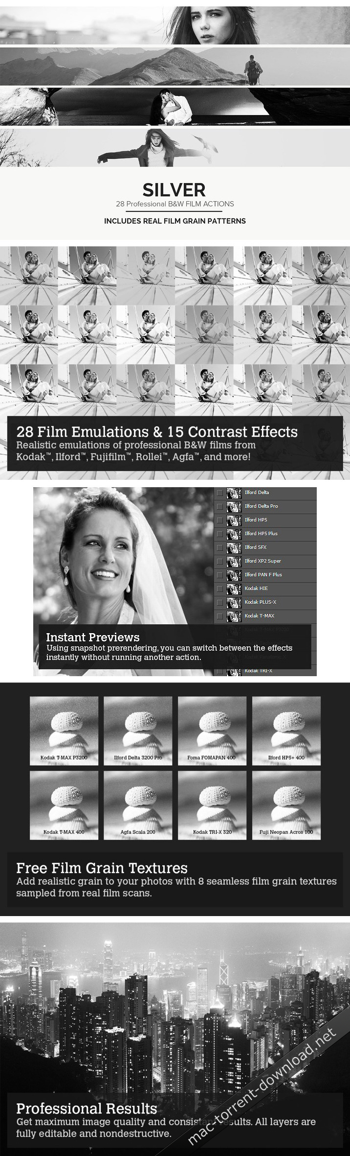 28 Real Black & White Film Emulations LUTs