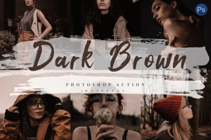 5 Dark Brown Photoshop Actions ACR LUT Screenshot 01 57v4aun