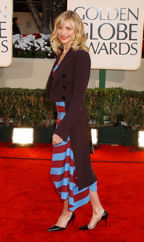 Pointy-toed pumps were worn with EVERYTHING in the early 2000s. And while Cameron Diaz may look cute here, her striped handkerchief-hem dress would've been better suited to a less severe footwear option.