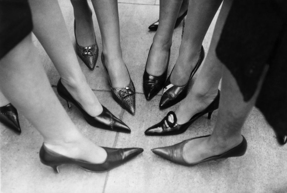 These elongated pointy-toed shoes were called winkle pickers back in the day.
