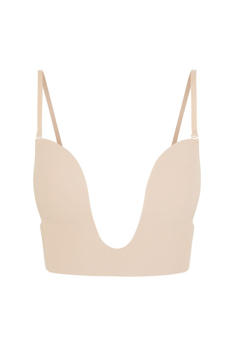 Padded cups sculpt, while the extreme U shape lets you get away with a sternum-exposing neckline, minus the flapping and underboob sweat.Fashion Forms Seamless U-Plunge Bra, $30, net-a-porter.com.