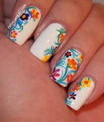 Prev Next Spring Flowers Nail Art Tutorial