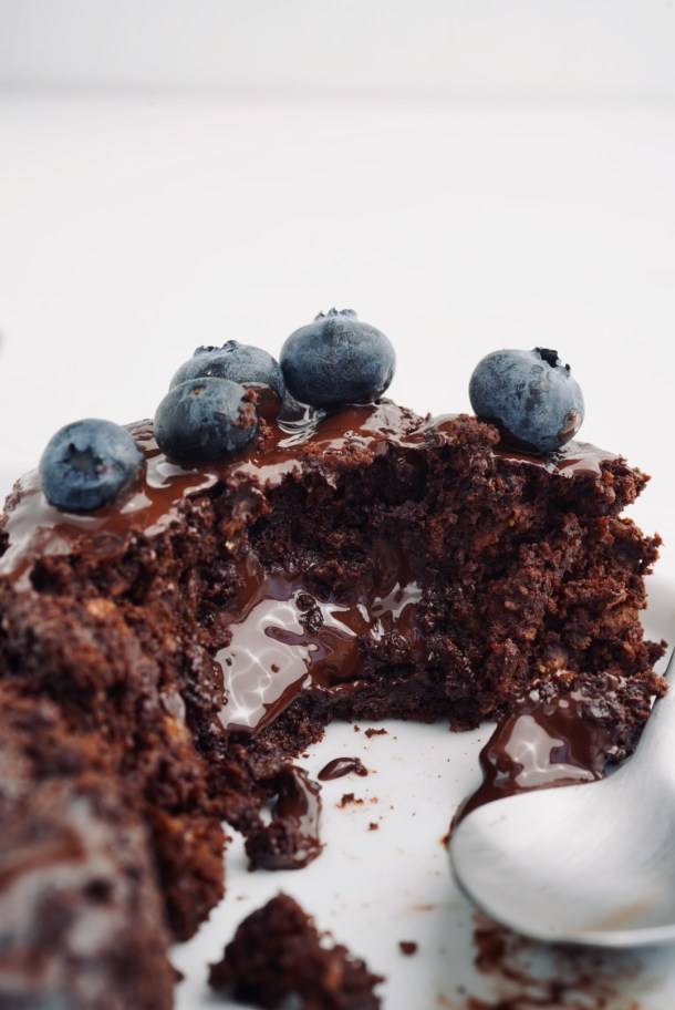 Volcán de chocolate saludable