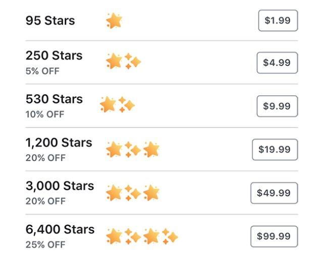 harga star facebook
