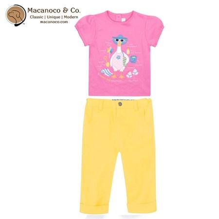 D7469ORC-D2776SUN Beach Duck Tshirt Cropped Twill Turn Up Trousers Sunshine
