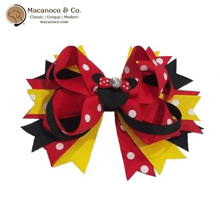 3831 Mouse Rhinestone Grosgrain Bow Hair Clip Red-Black 1