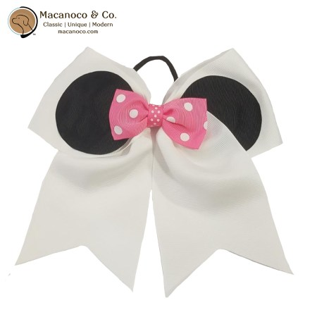 3758 Mouse Ears and Bow Grosgrain Ponytail WhitePink 1