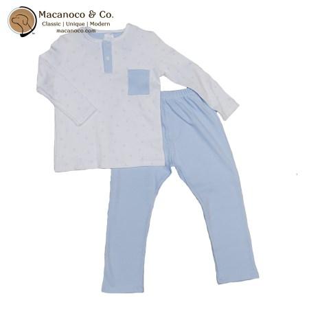 71116 Huellas Button Pocket Shirt and Pant Pajama Sky Blue 1