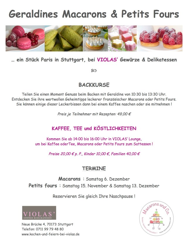 Flyers Macarons und Petits Fours
