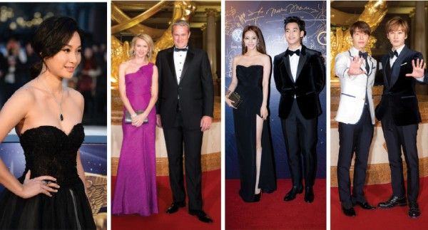 From left to right: Kate Tsui, Naomi Watts, Han Ye Seul and Kim Soo-Hyun and Super Junior