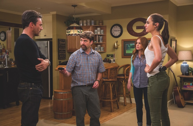 "From left,  Jon Hamm, Zach Galifianakis, Isla Fisher and Gal Gadot in ""Keeping Up With The Joneses"""