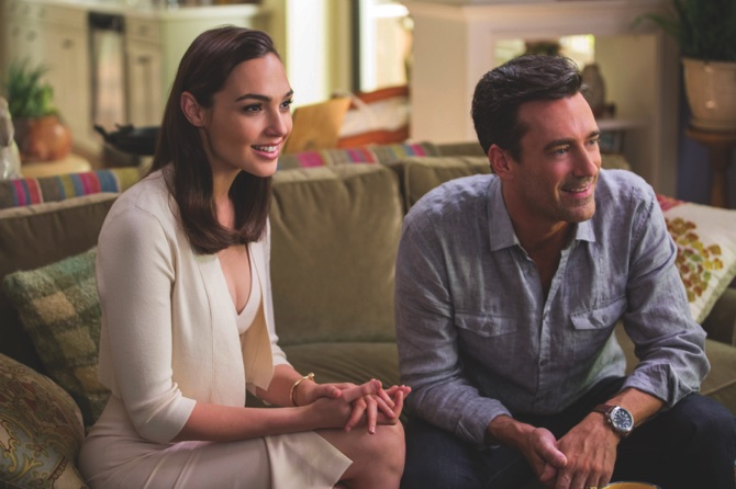 Gal Gadot, left, and Jon Hamm