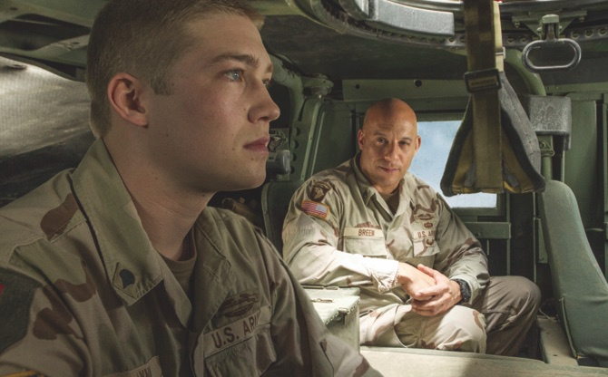"Joe Alwyn (left), and Vin Diesel in a scene from the film, ""Billy Lynn's Long Halftime Walk"""