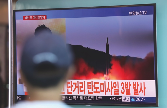 North Korea fires unidentified projectiles into sea, South Korean military says