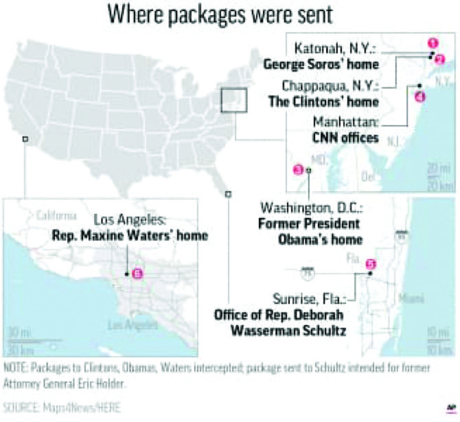 Investigators treating packages as 'live devices,' not hoax