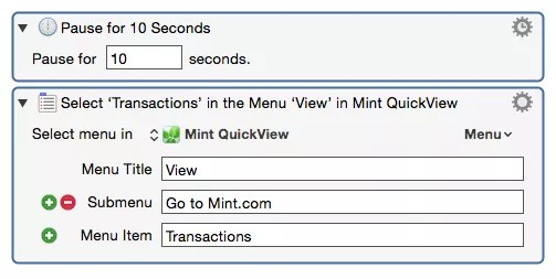 menu actions