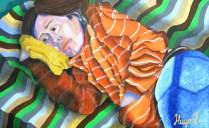 Lucy con almohada - 80cms x 50cms - Óleo sobre lienzo - 2015